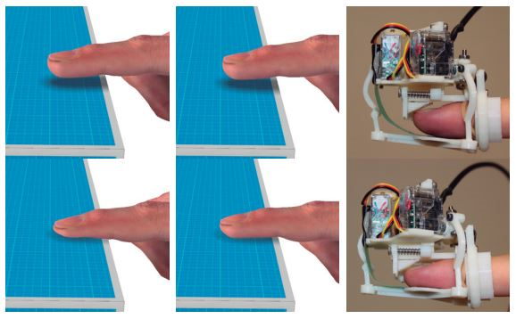 골무모양의 장비. 출처 : Efficient Nonlinear Skin Simulation for Multi-Finger Tactile Rendering