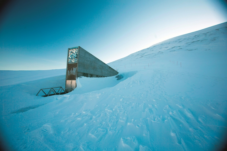 ARCHITECTURAL MARVEL - The roof and front of the Svalbard Global Seed Vault are adorned with stainless steel prisms and mirrors. As light reflects off them, they emit a ghostly glow that changes throughout the days and seasons.