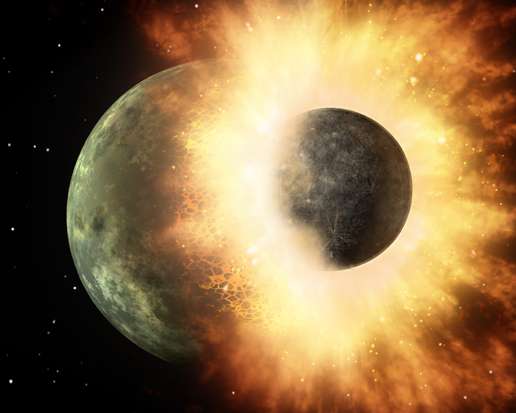 화성 크기 만한 천체가 지구에 부딪히며 달 탄생~ 출처: NASA/JPL-Caltech